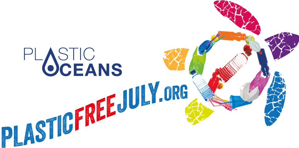 Plastic Oceans and Plastic Free July. Infographic.