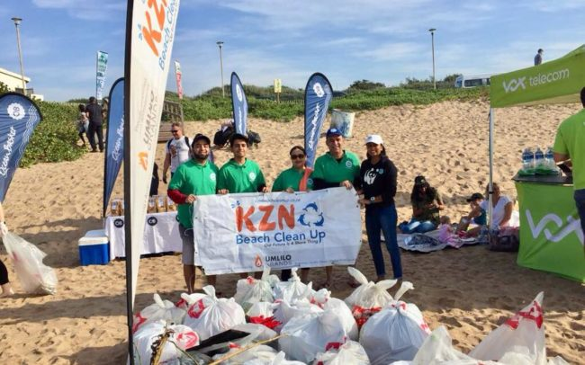 Staff from TetraPak who joined in the beach clean up, pictured with Presha from KZN Beach Clean Up.