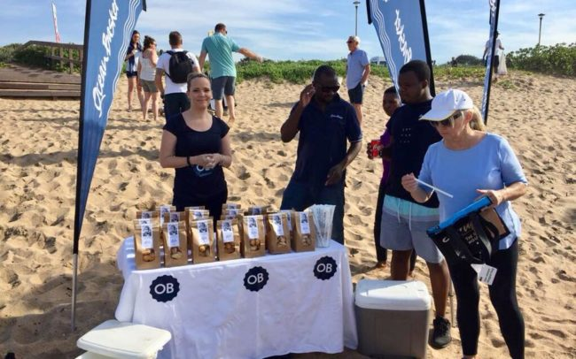 KZN Beach Clean Up also partnered with Ocean Basket who kept volunteered refreshed with cooldrinks, delicious biscuits and gave away vouchers for a meal of sustainable seafood at Ocean Basket Durban North.