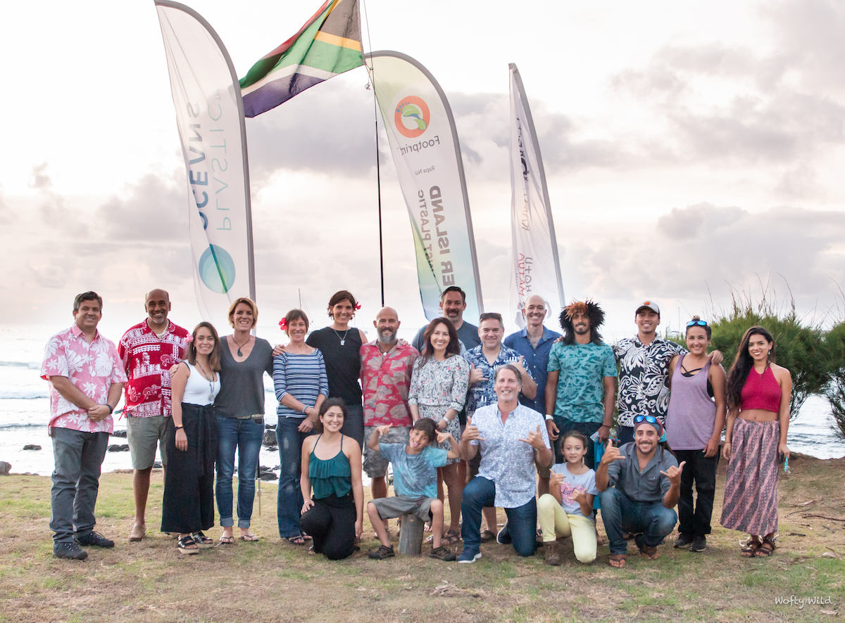 Team members and sponsors of the Swim Against Plastic on Easter Island.