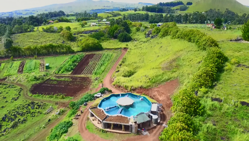 Aerial view of the Toki Rapa Nui's Integral Development Center, year 2019.