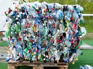 Bale of plastics ready for recycling
