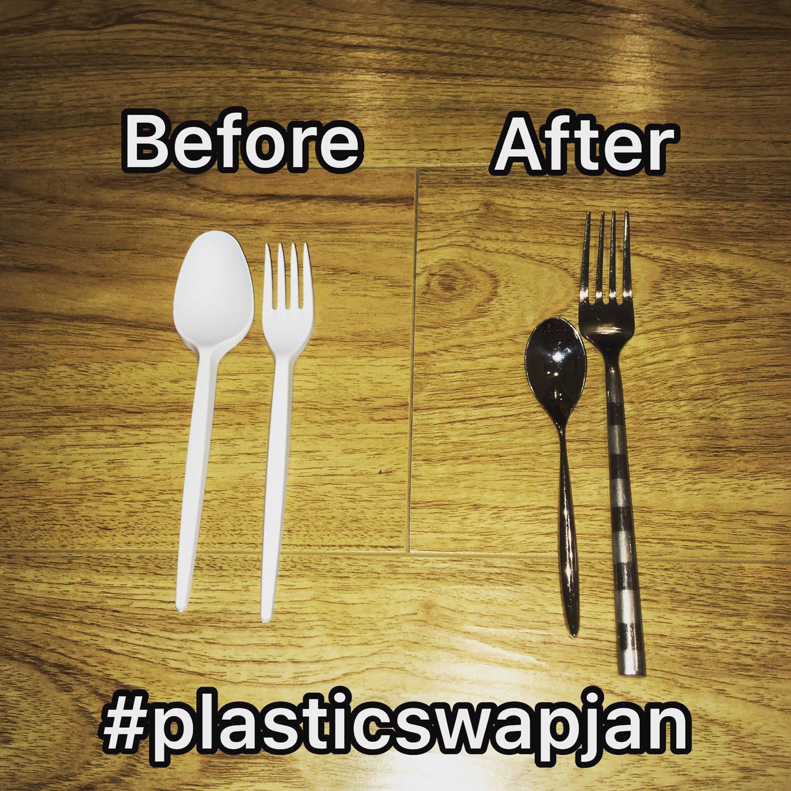 Plastic and metal utensils.