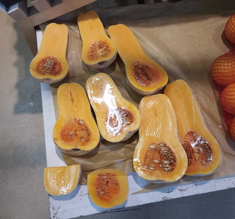 butternut squash wrapped in plastic