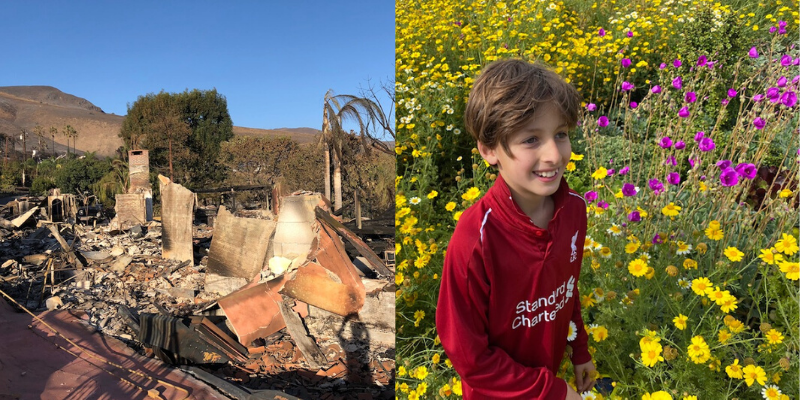 Malibu home burned in wildfires and flowers two years later