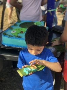 boy with turtle cake