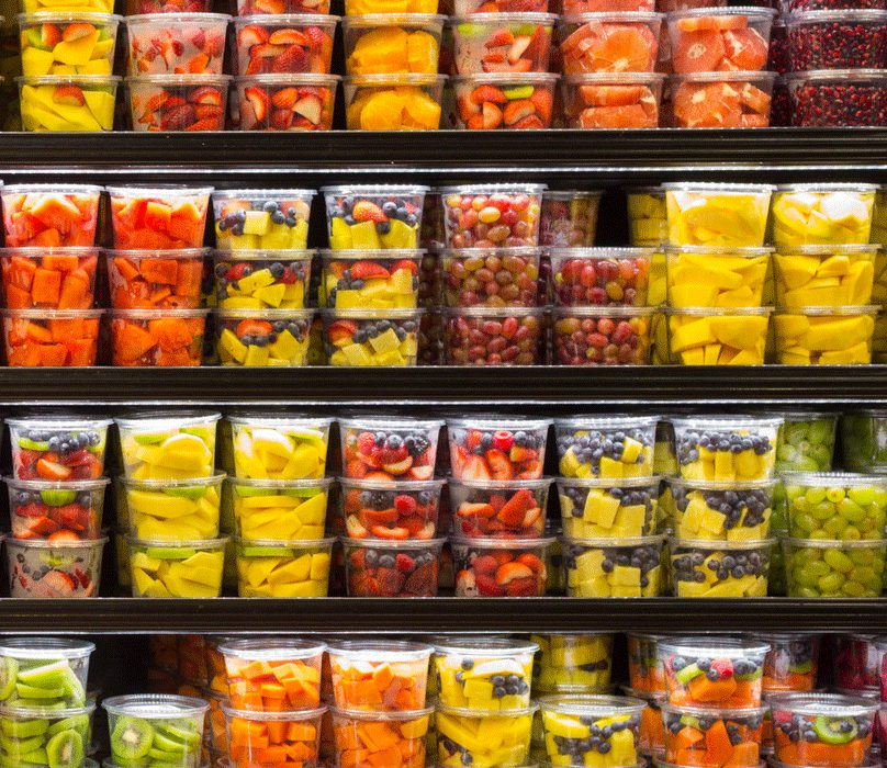 Lessons Learned form a zero-waste trial; shelves full of plastic packaging.