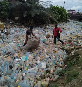 river cleanup in Douala, Cameroon