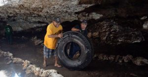 Tire cleaned from cenote in Mexico
