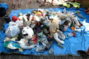 Plastic waste collected from river in Sevilla, Spain